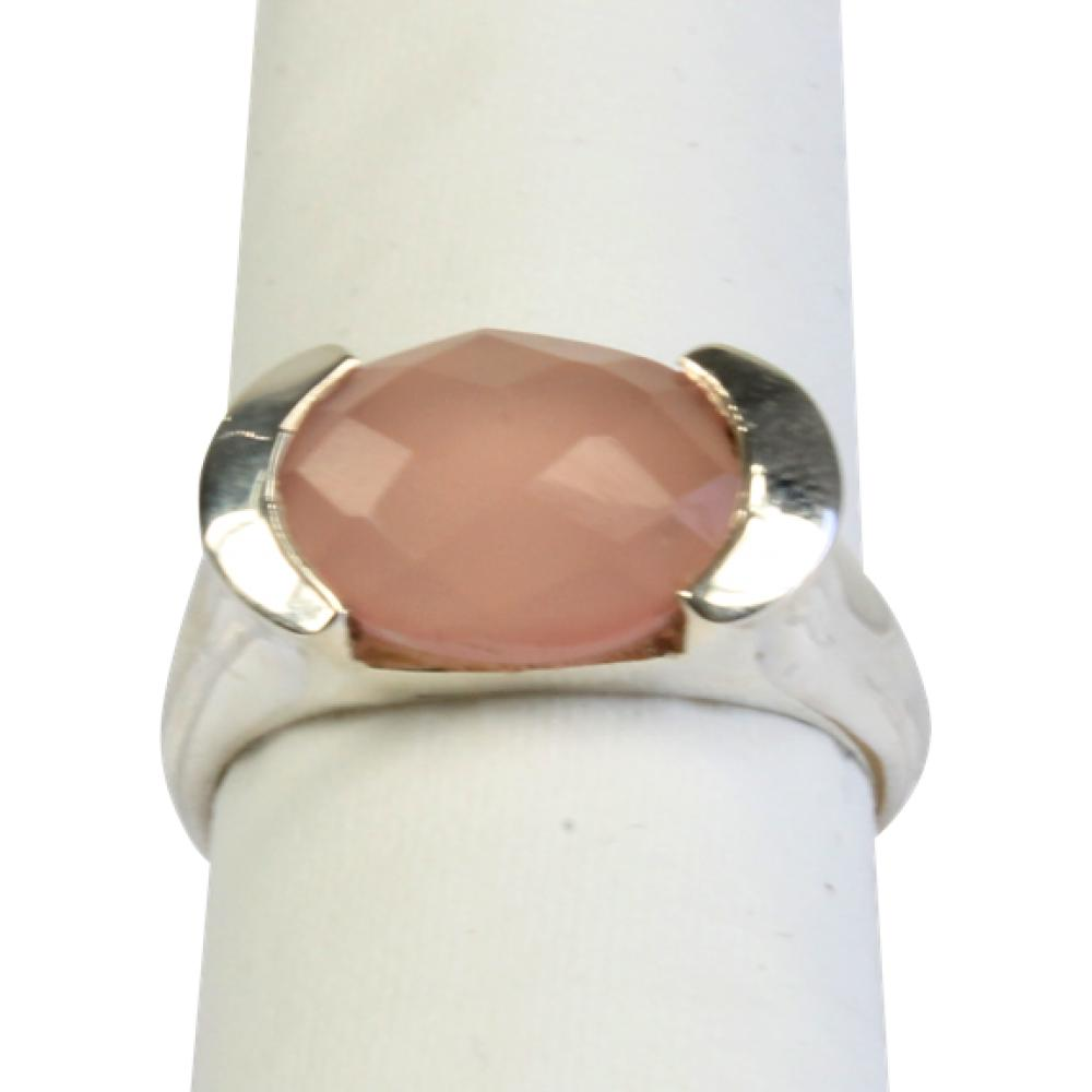 Bague-argent-Calcedoine-rose-facettee-Taille-50
