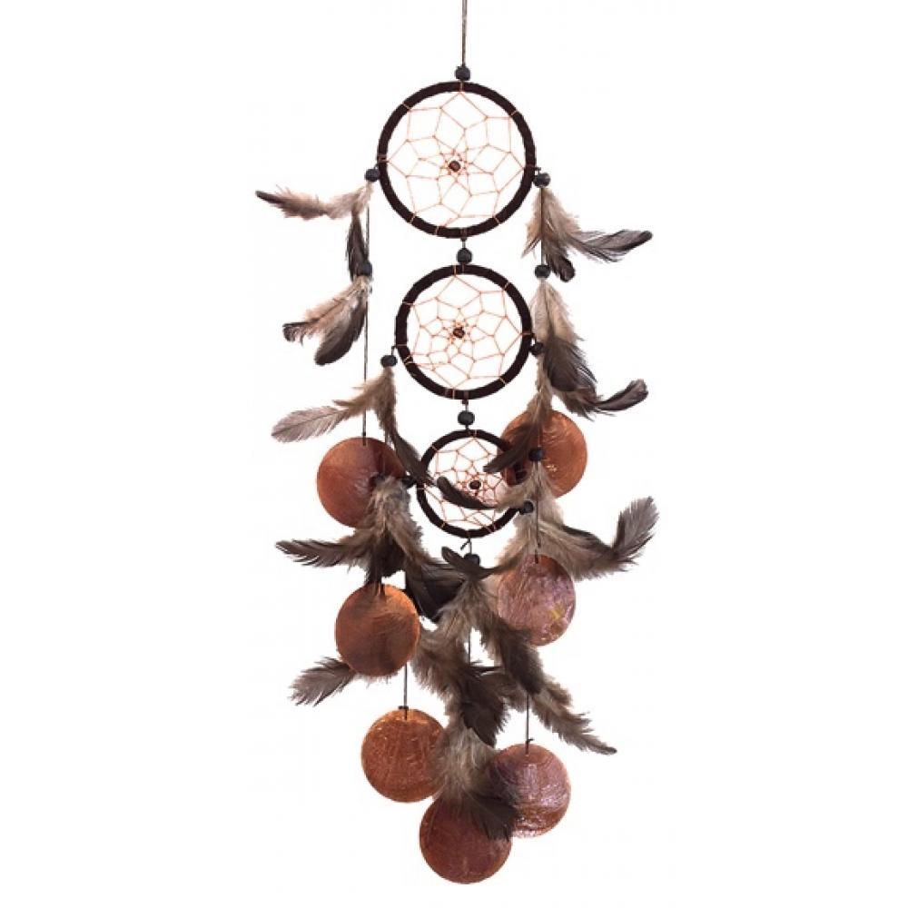 Dreamcatcher-3-branches-marron-avec-coquillages-10x45-cm
