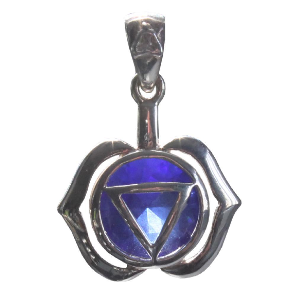 Medaille-Chakra-Ajna-Argent-925-avec-Saphir-2-5-cm